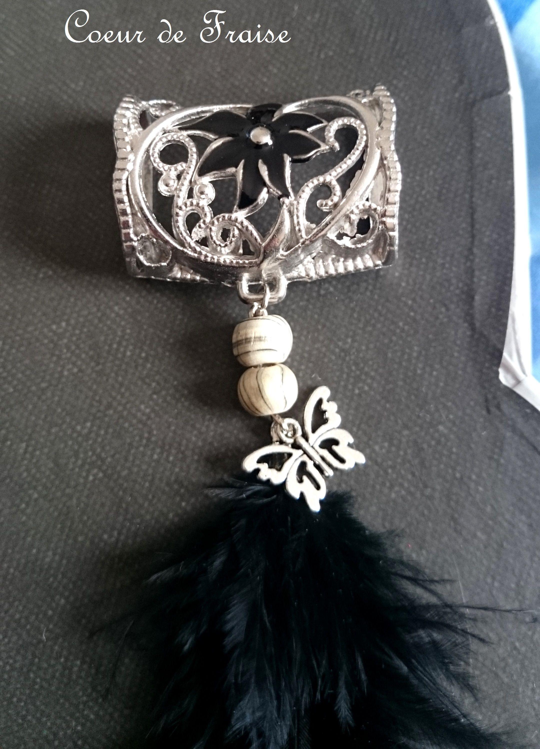 Bijou de foulard argenté fleur noir plume papillon métal black flower perle  boisbutterfly support création artisanale 68379486d17