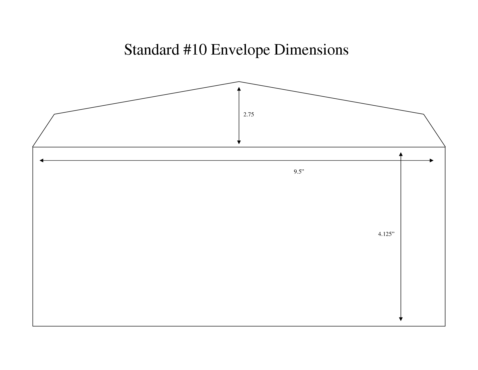 Envelope Measurements Standard 10 Envelope Dimensions 2 75 9 5 4 125 Envelope Template Window Envelopes Envelope Dimensions