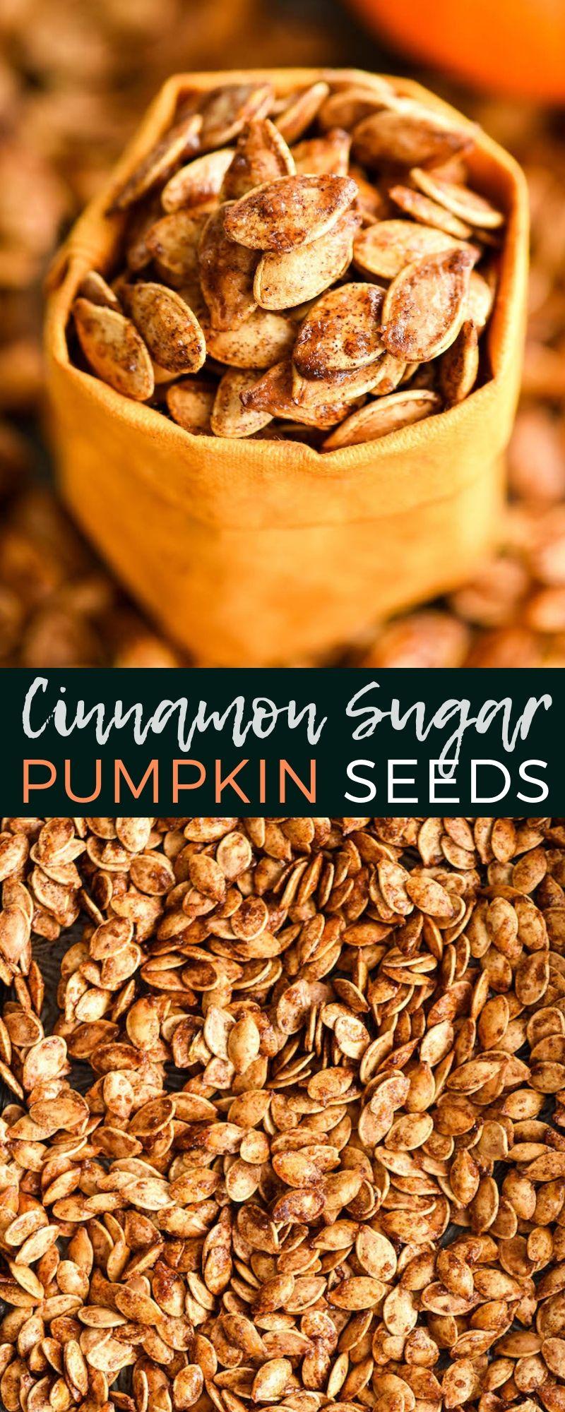 Homemade Cinnamon Sugar Pumpkin Seeds #pumpkinseedsrecipe