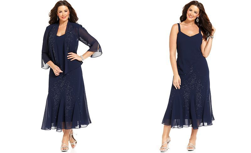 9f80716be8d56 R M Richards Plus Size Beaded V-Neck Dress and Jacket - Dresses - Women - Macy s  Dress for MOM