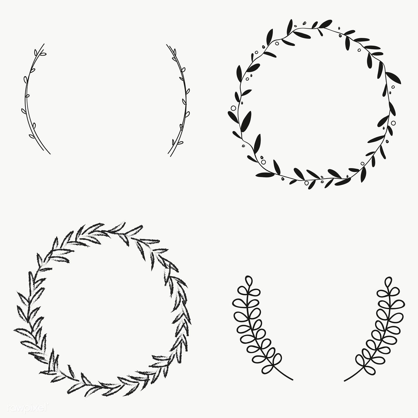 Black Leafy Frame Set Transparent Png Free Image By Rawpixel Com Marinemynt Hand Embroidery Patterns Flowers Frame Set Wreath Drawing