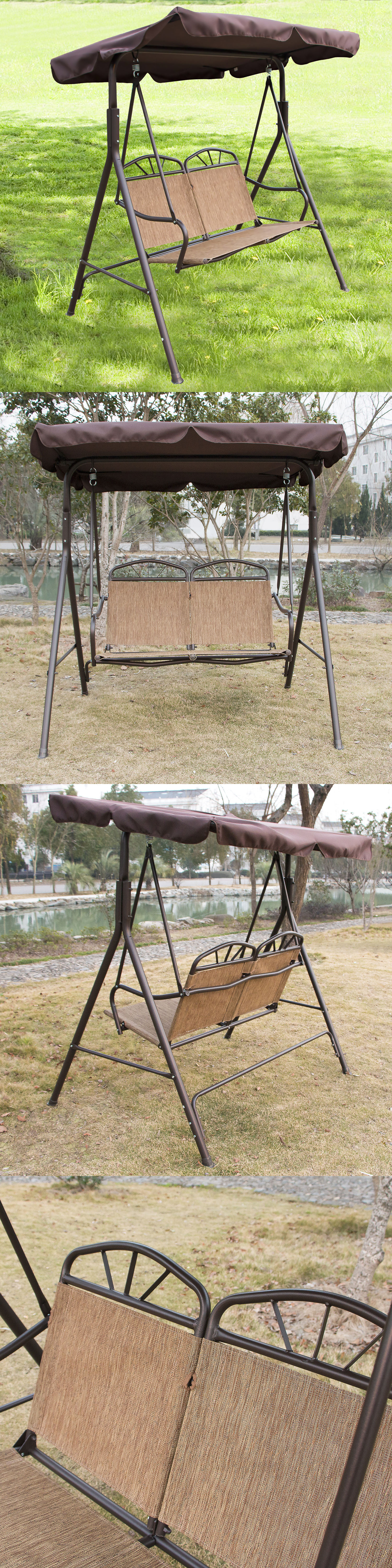 Lovely Swings 79700: Outdoor Patio Swing Canopy Chair Awning Yard Furniture 2  Person Bench Seat