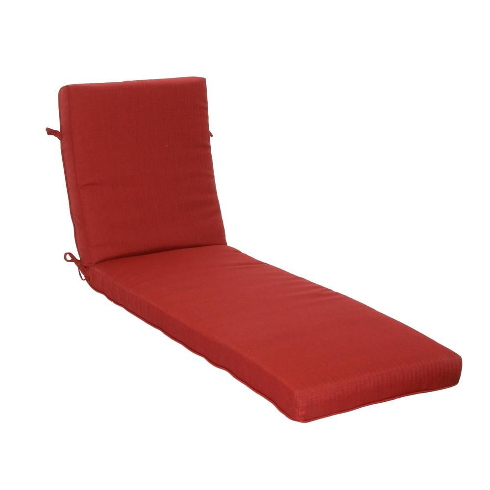 Hampton Bay 21 In X 47 In Outdoor Chaise Lounge Cushion In Standard Chili Texture Chaise Lounge Cushions Lounge Cushions Outdoor Chaise Lounge Cushions