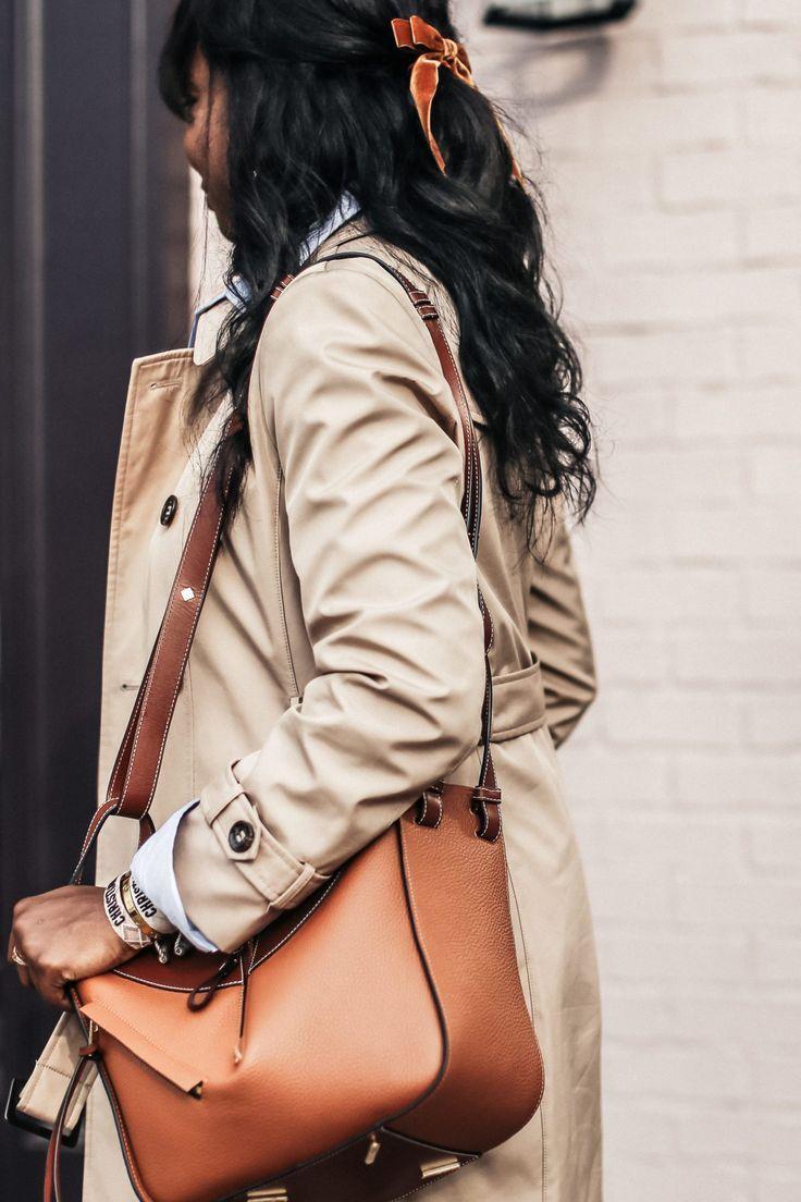 Blue + Tan Outfit Combo: LOEWE Hammock Bag Review