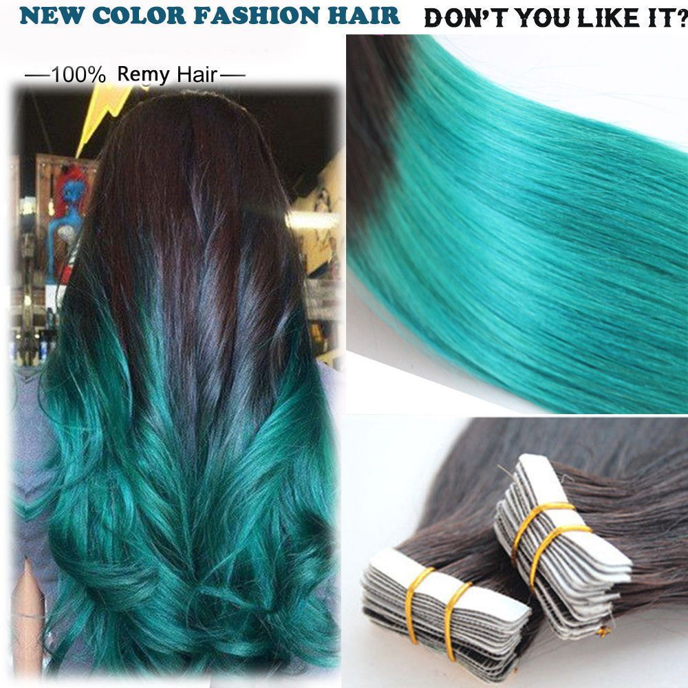 New 7a Brazilian Straight Tape In Human Hair Extensions Ombre 1b
