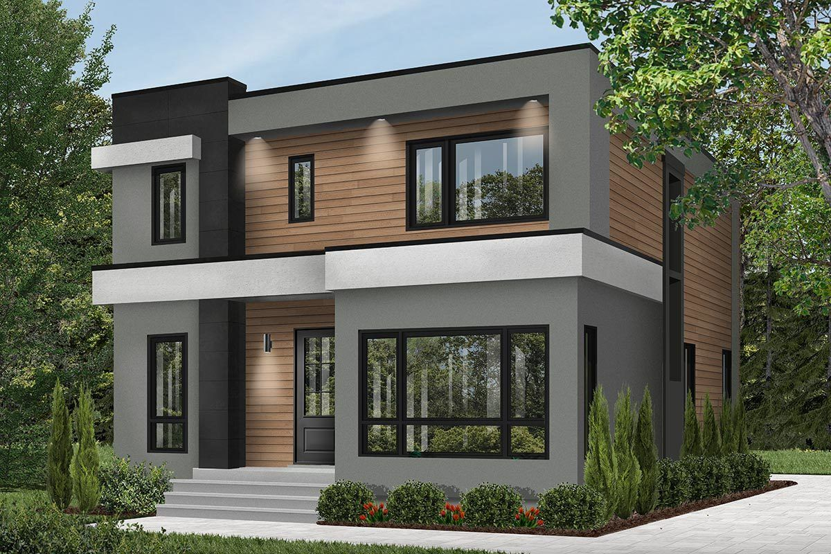 Photo of Plan 22488DR: 4-Bed Modern House Plan with Master Balcony
