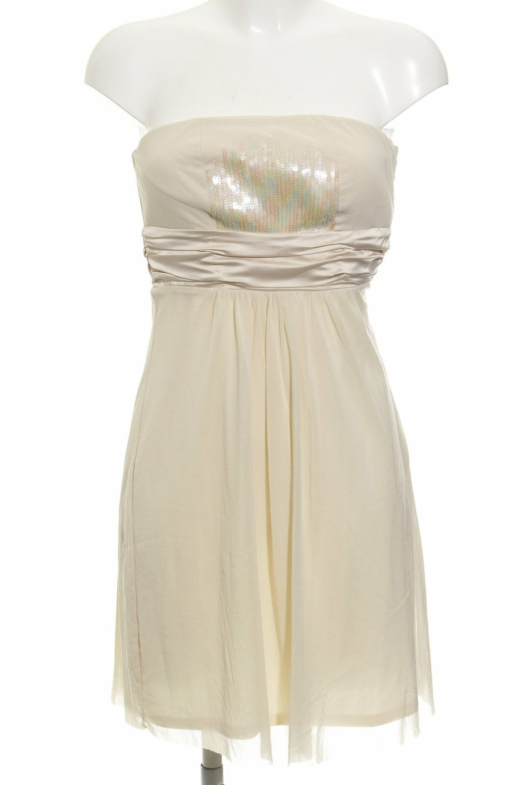 ESPRIT schulterfreies Kleid creme Elegant Damen Gr. DE 16 Dress