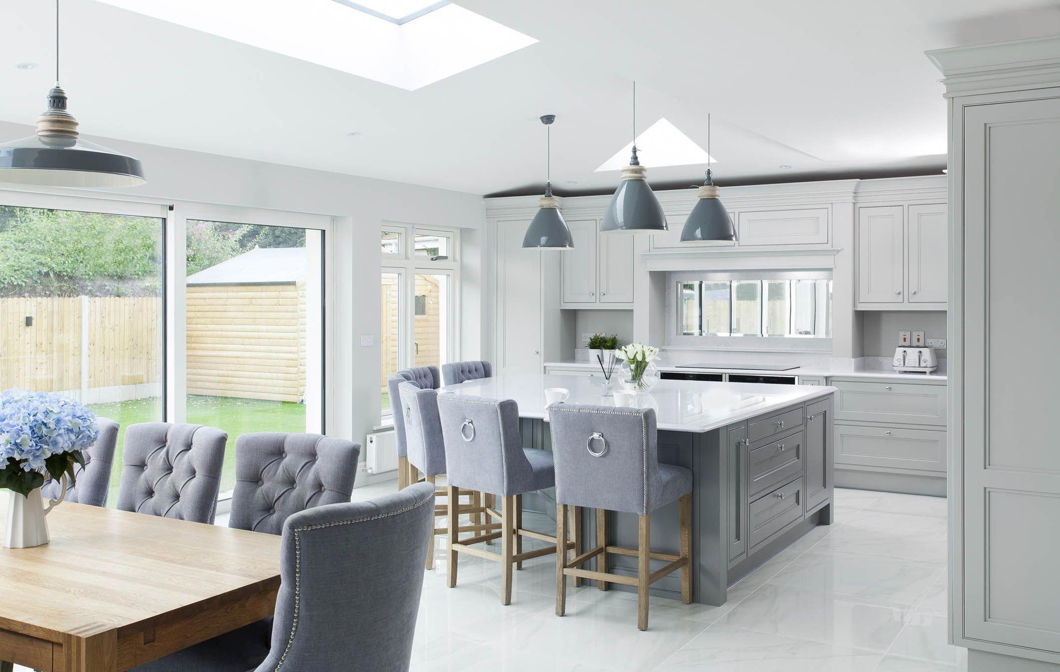 Grey White And Oak Kitchen Modernkitchen Open Plan Kitchen Dining Living Open Plan Kitchen Living Room Grey Kitchens