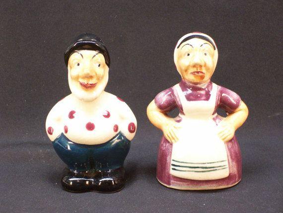 Fisherman And Ugly Wife Salt Amp Pepper Shaker Set Vintage