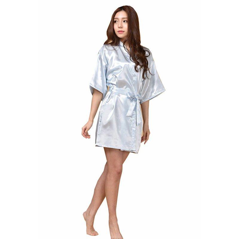 New Sky Blue Chinese Women Silk Rayon Robe Kimono Bath Gown ...