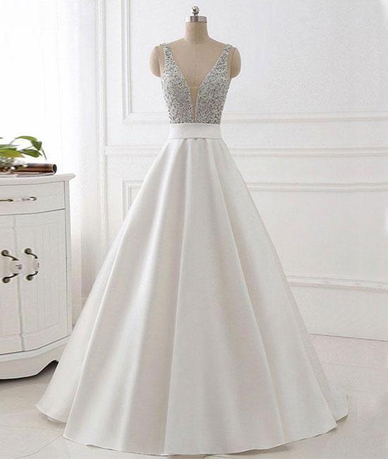 Vestido de fiesta blanco sin espalda con cuello en V con cuentas, vestido formal con cuello en V, vestido de noche blanco – EE. UU. 14 / Color personalizado  – Boda