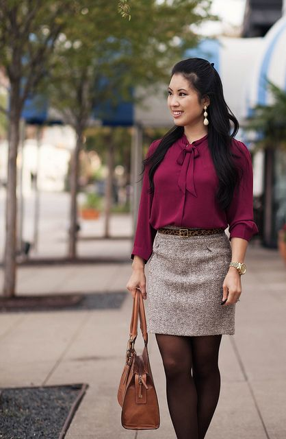 Burgundy Tweed Cute Amp Little Fashion Outfits Brown
