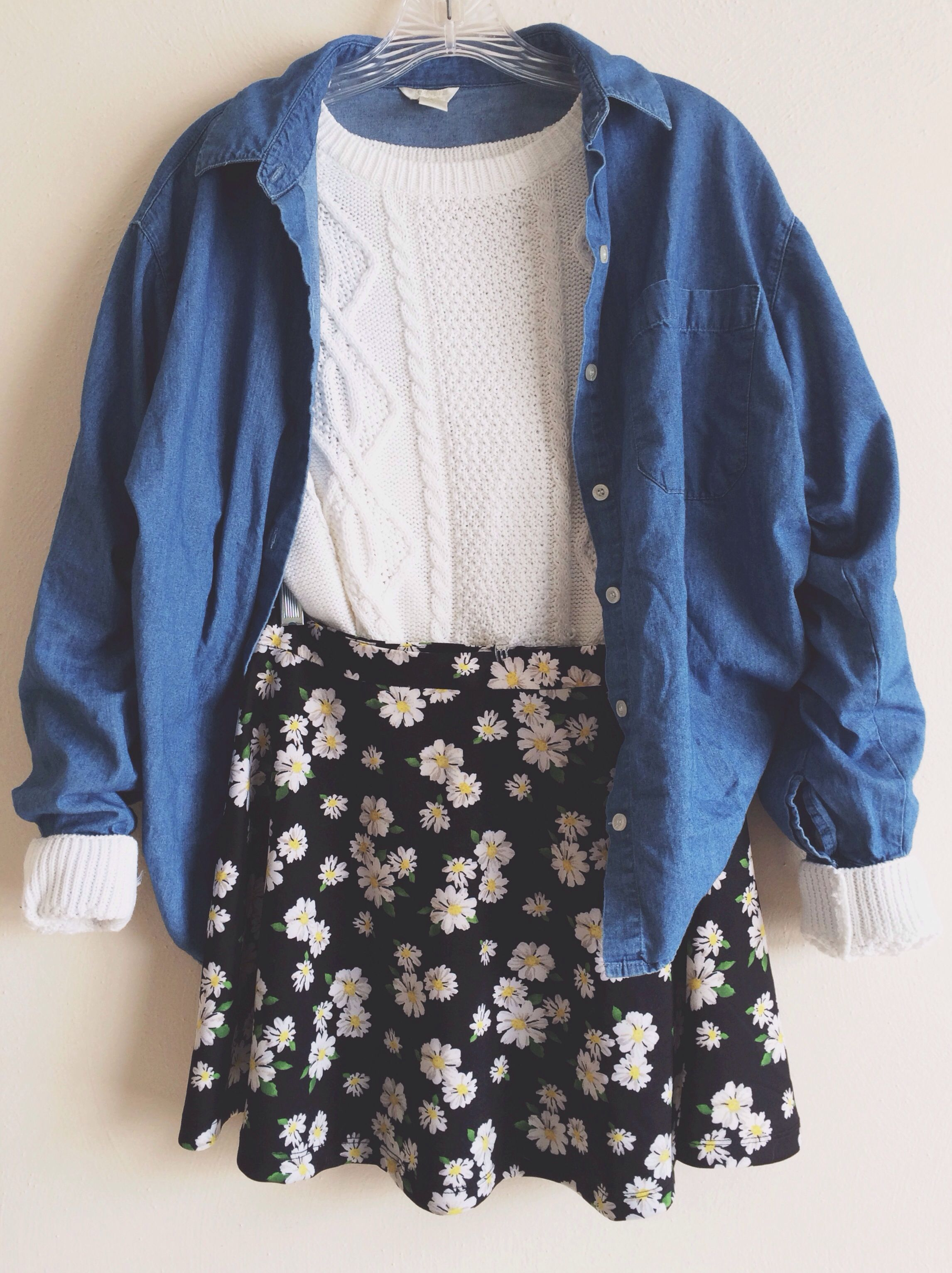 Forever21 skirt, sweater, and jacket