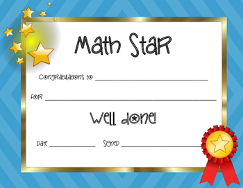 Math Star Certificate | Middle school maths, Certificate ...