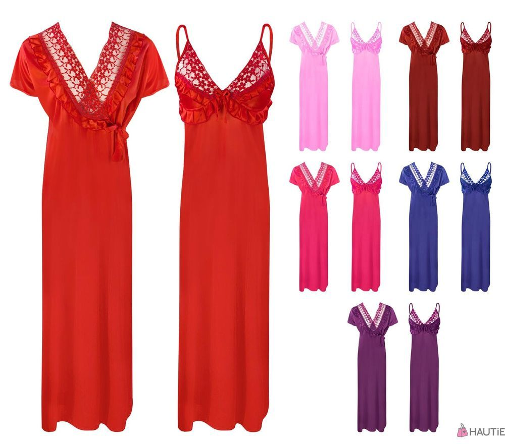 LADIES SATIN LACE LONG NIGHTDRESS NIGHTY CHEMISE EMBROIDERY DETAILED SIZE 8-14