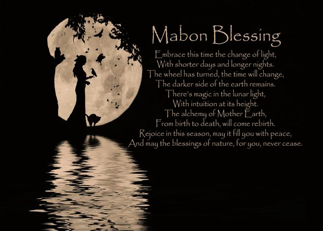Mabon Blessings Autumn Equinox Moon and Poem card #autumnalequinox