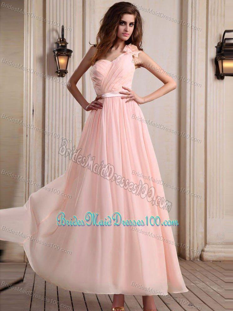 One Shoulder Baby Pink Dress with Flower | Loggie\'s Wedding ...