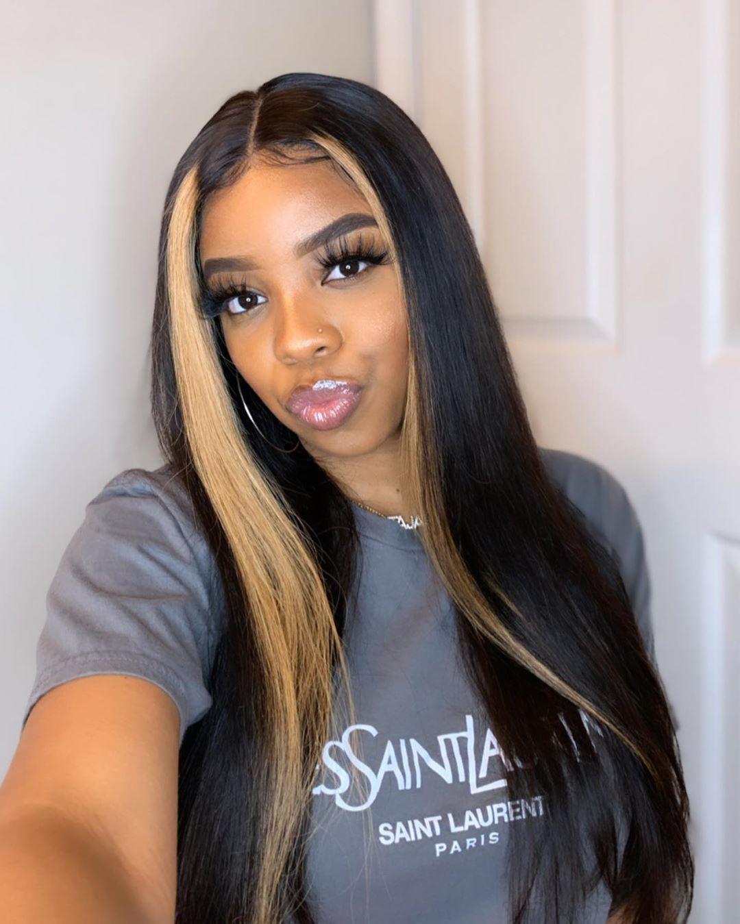 Thriving Hair Virgin Human Hair Straight Mahogany Brown With Dark Blonde Front Streaks Lace Front Wigs V96 Front46 In 2020 Straight Hairstyles Lace Front Wigs Hair