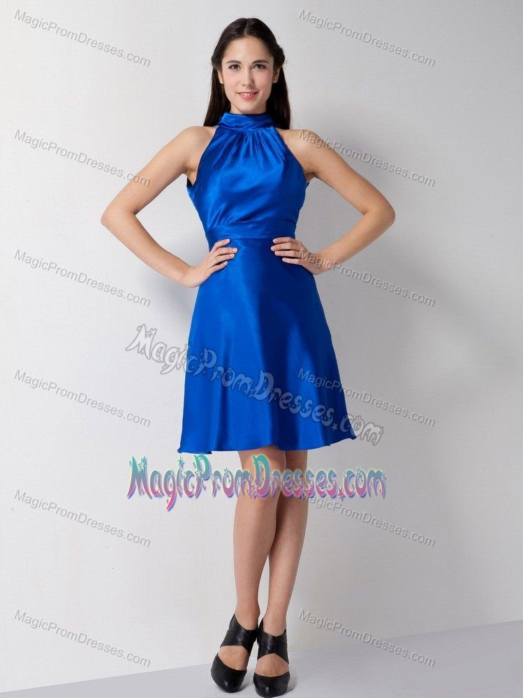 Unique High-Neck Royal Blue Prom Dresses for Flat Chested Girls ...