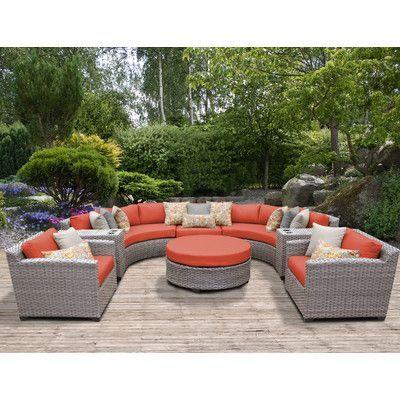 Tk Classics Florence Outdoor Wicker Patio 8 Piece Deep Seating