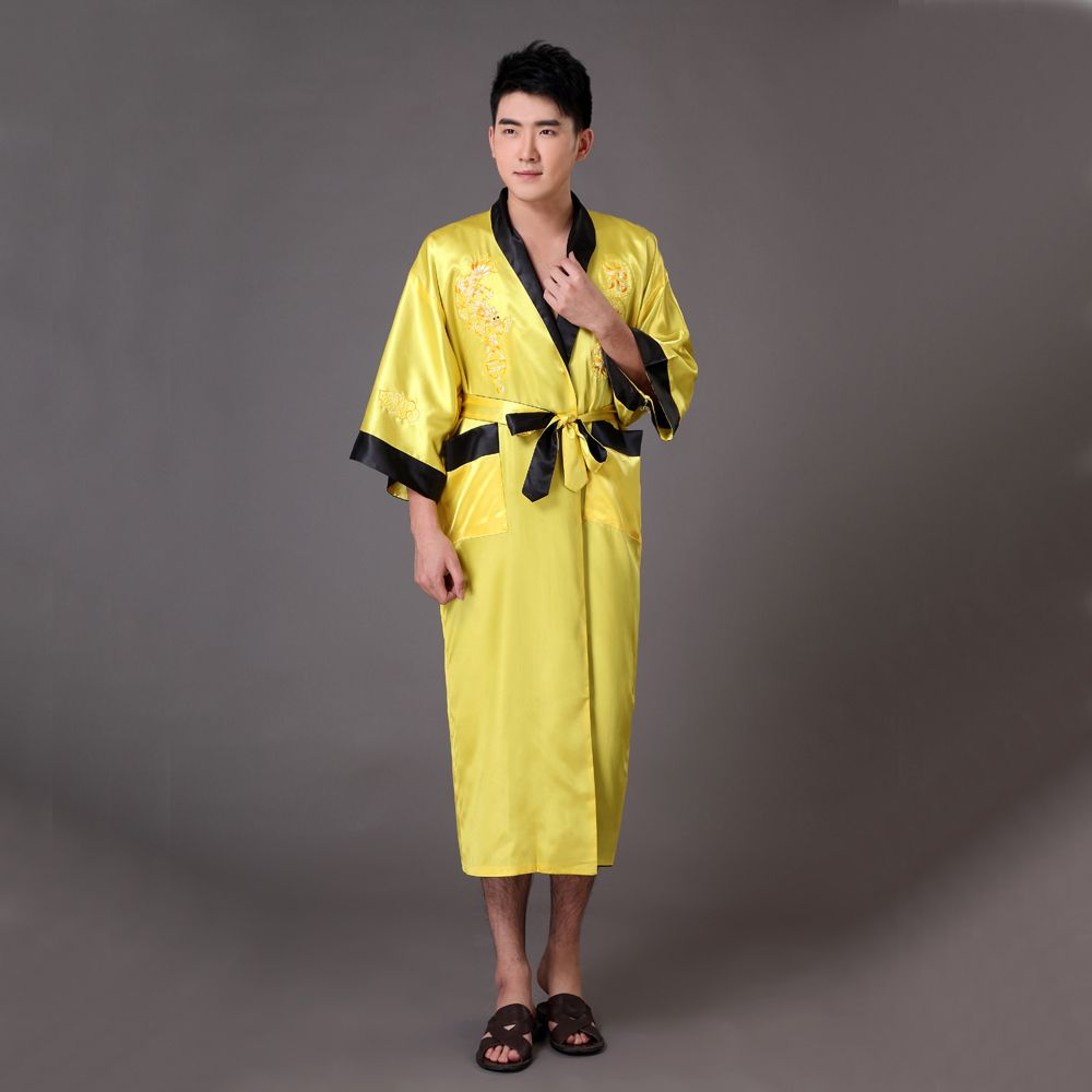 Gold Black Chinese Men s Reversible Silk Satin Robe Bath Gown Embroidery  Dragon Kimono Two Side Sleepwear e50211bb4
