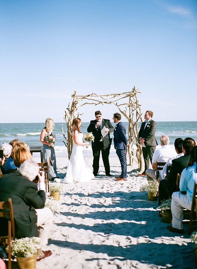 Charleston Weddings Folly Beach Wedding At Pelican Watch Shelter With A Coastal Blue Color Palette