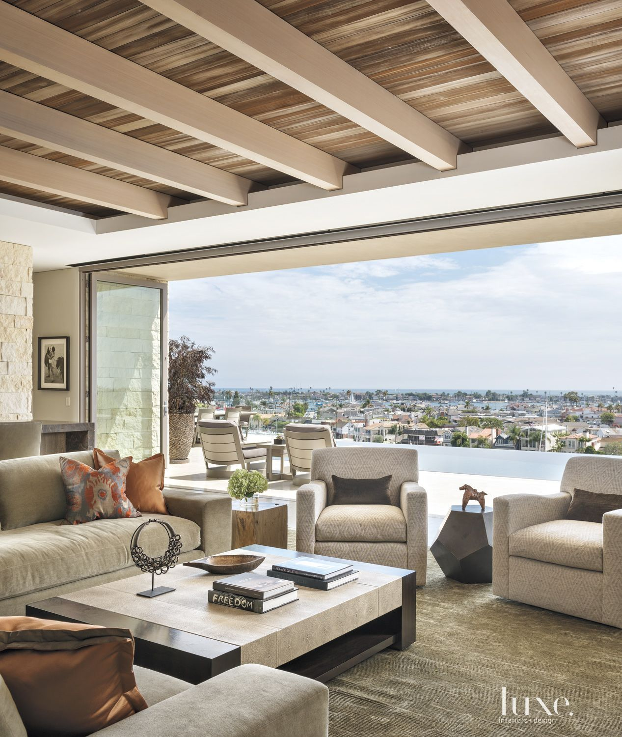 contemporary neutral ideas of art deco living rooms | Modern Neutral Family Room With Balcony | LuxeSource ...