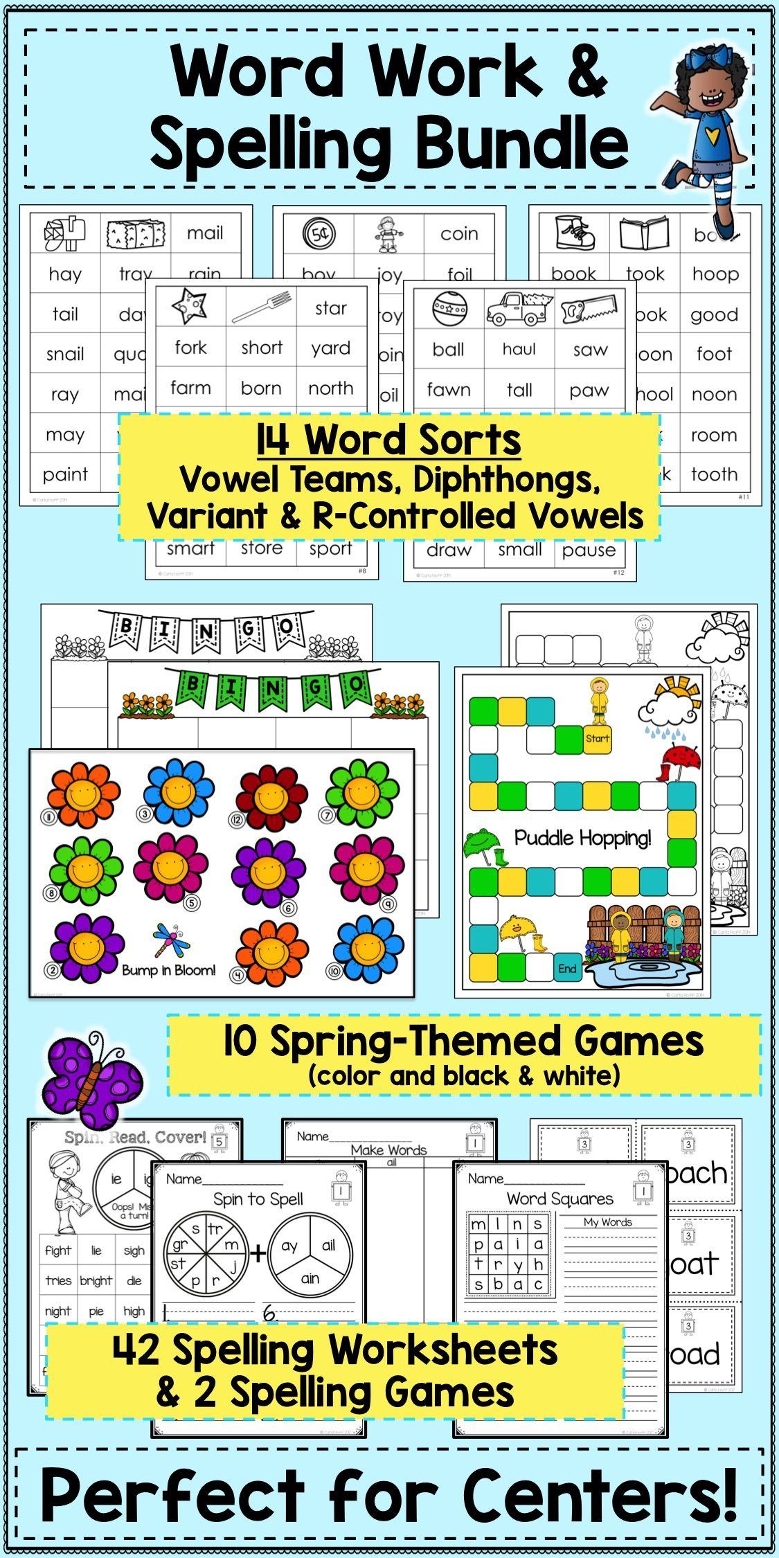 worksheet R Controlled Vowel Worksheets spring word work spelling bundle vowel teams variant vowels give your students practice reading and words with r