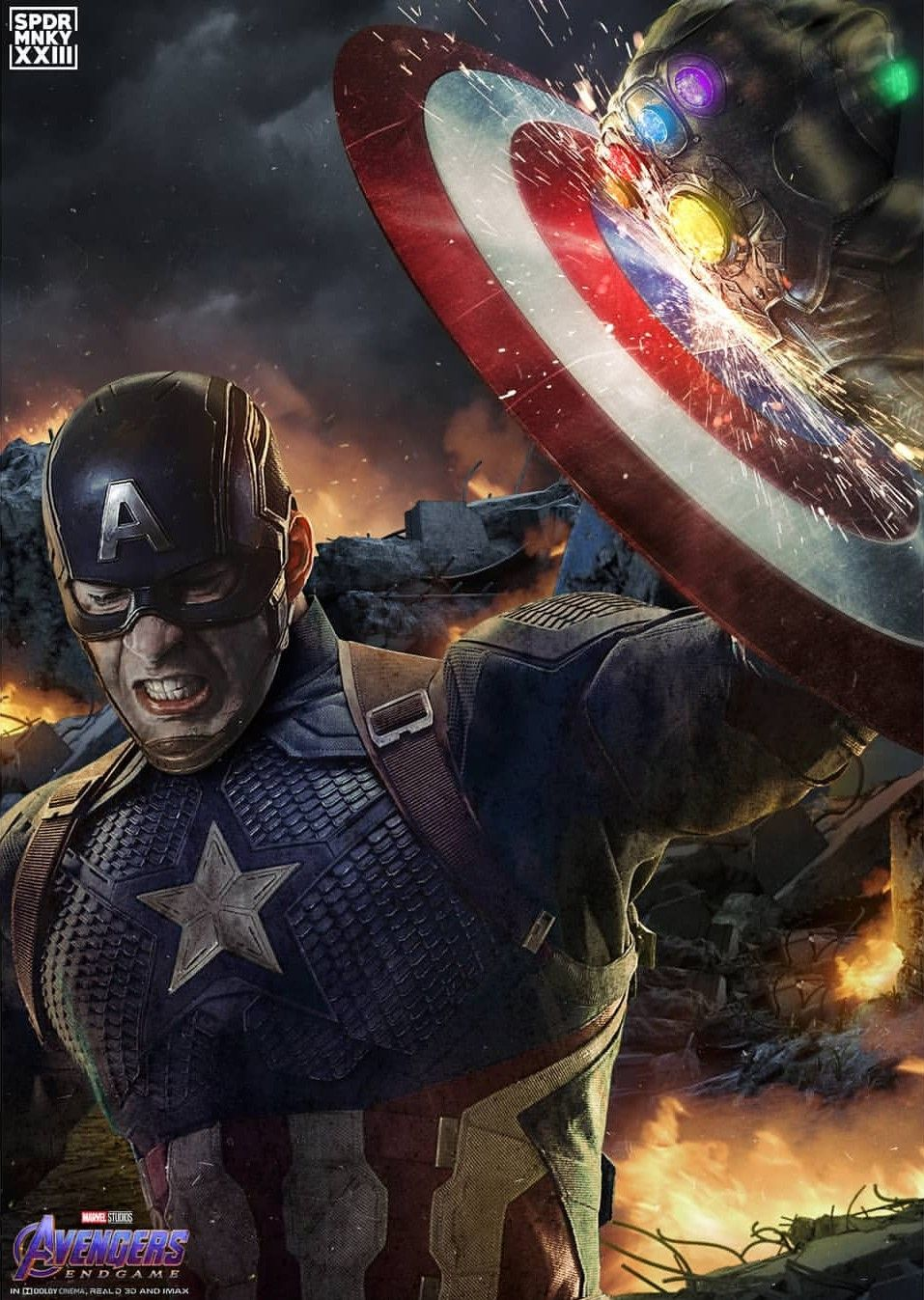 Captain America Vs Thanos By Sprmnky With Images Marvel