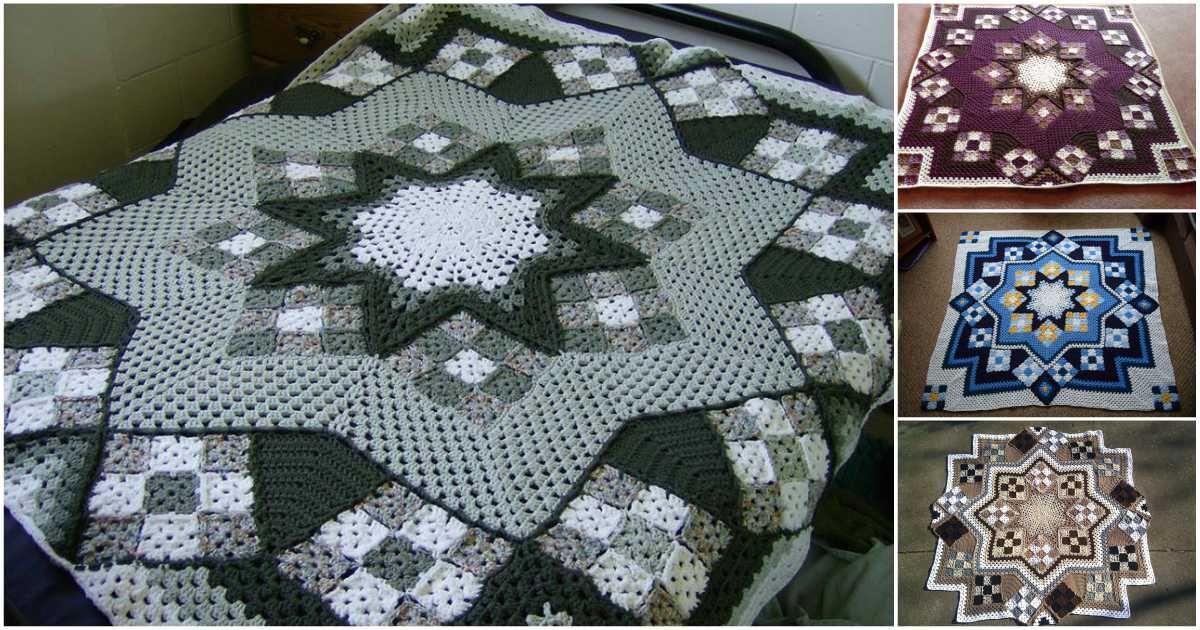 Great Blue Star Crochet Afghan [Free Pattern   Manta, Cuadros ...