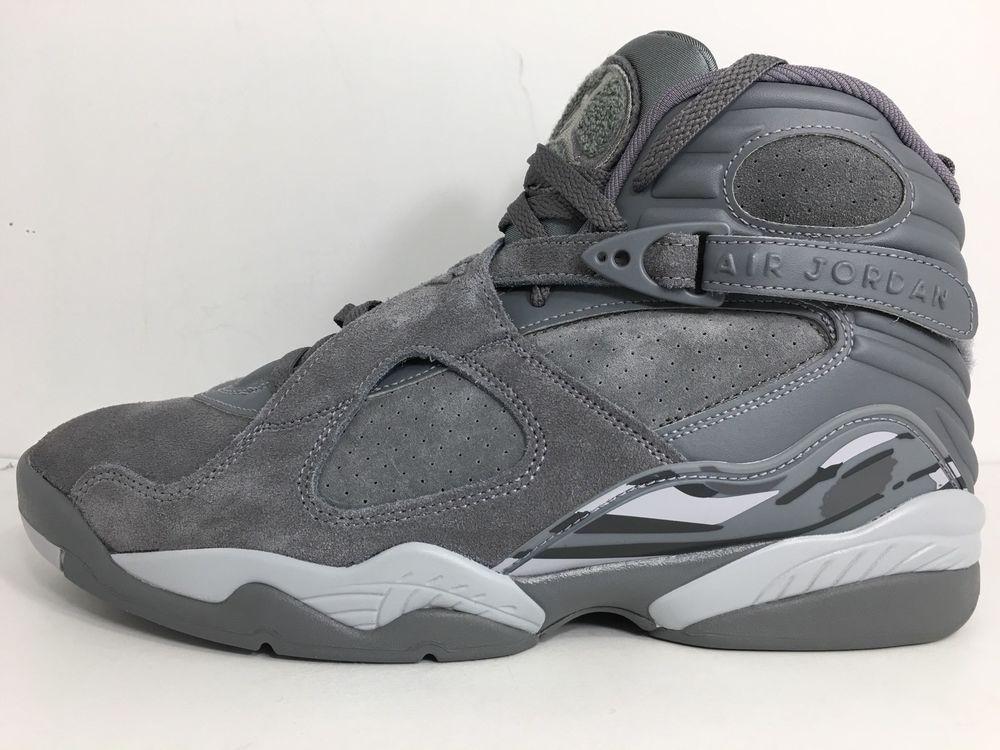 3cf52f732cc621 Nike Air Jordan 8 Retro Cool Grey Wolf Gray 305381 014 Suede Size 11 ...