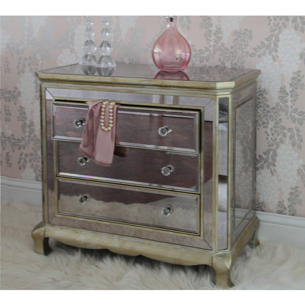 Best The French Bedroom S Venetian Distressed 3 Drawer Mirrored 400 x 300