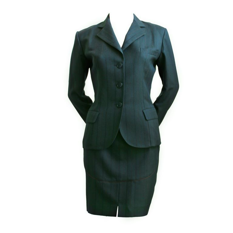 1stdibs | AZZEDINE ALAIA forest green suit with burgundy piping
