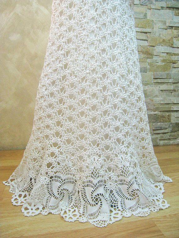 Exclusive Ivory Crochet Wedding Dress Handmade Crochet Bride Dress