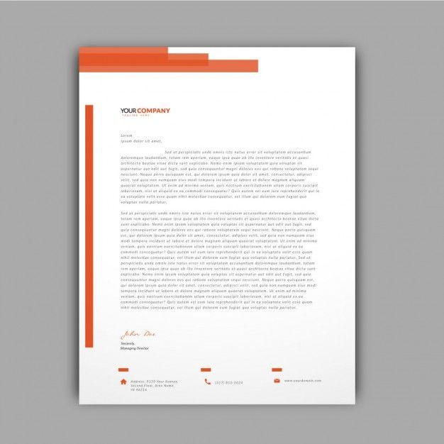 Orange details letterhead template Free Vector Design - free letterhead samples