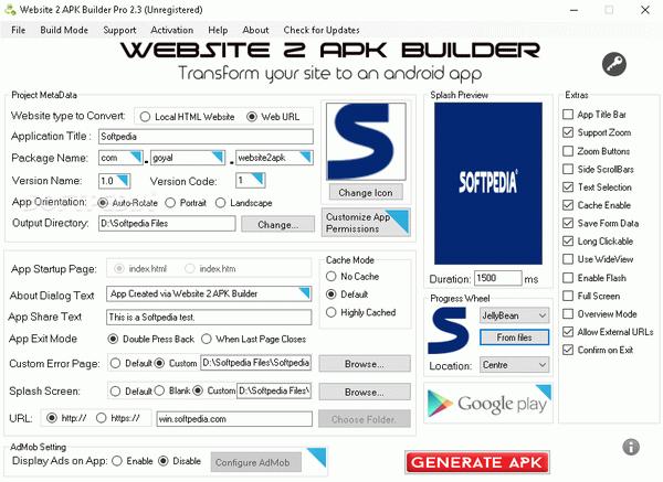 Website 2 Apk Builder Pro V3 3 1 With Serial Key Free Website Themes Splash Screen Website