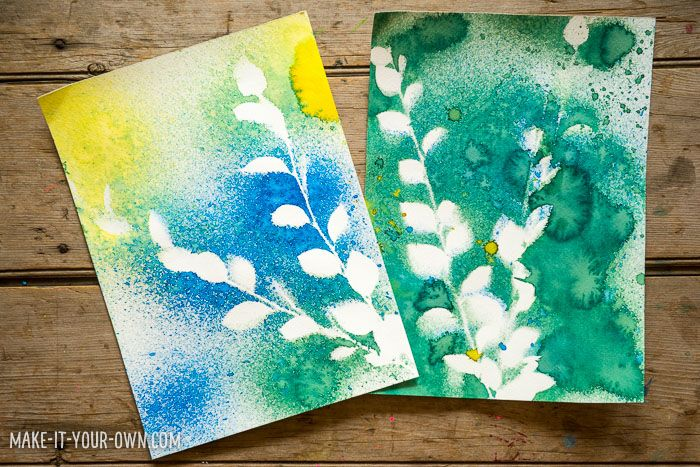 Spray Paint Craft Ideas Part - 33: Nature Spray Painting With Kids (via Make It Your Own)
