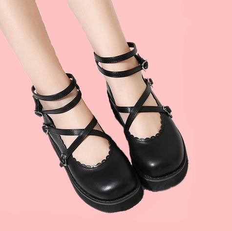 Womens Mary Jane Lolita T-Strap Pumps Creeper Platform Mid Heel Chunky Shoes