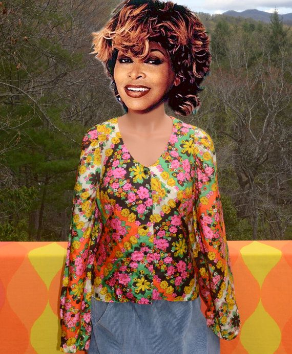 6f0c8c0d vintage 60s blouse disco mod FLORAL v-neck pattern psychedelic neon leisure  70s shirt women's Medium hippy trippy hang ups by skippyhaha