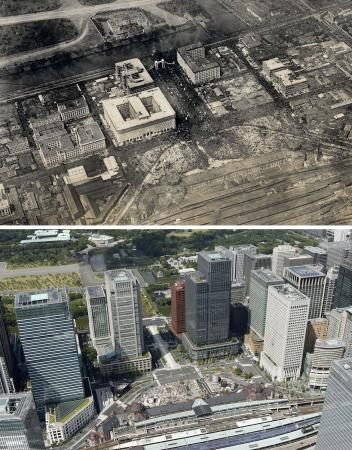 comparison of Tokyo station now between 90 years ago.