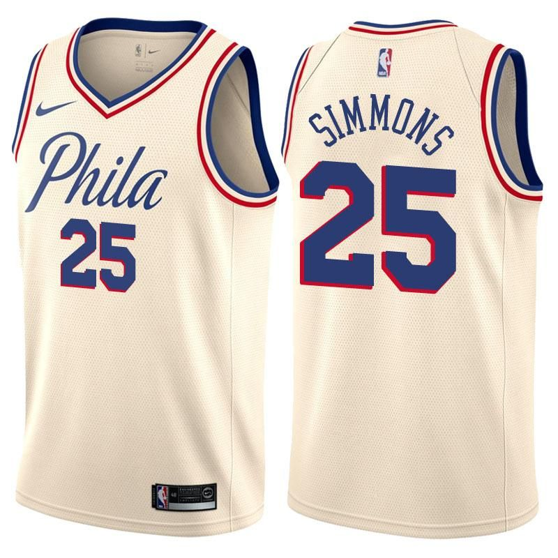 buy online e7a90 88bd6 Men's Philadelphia 76ers Ben Simmons Jersey White City ...