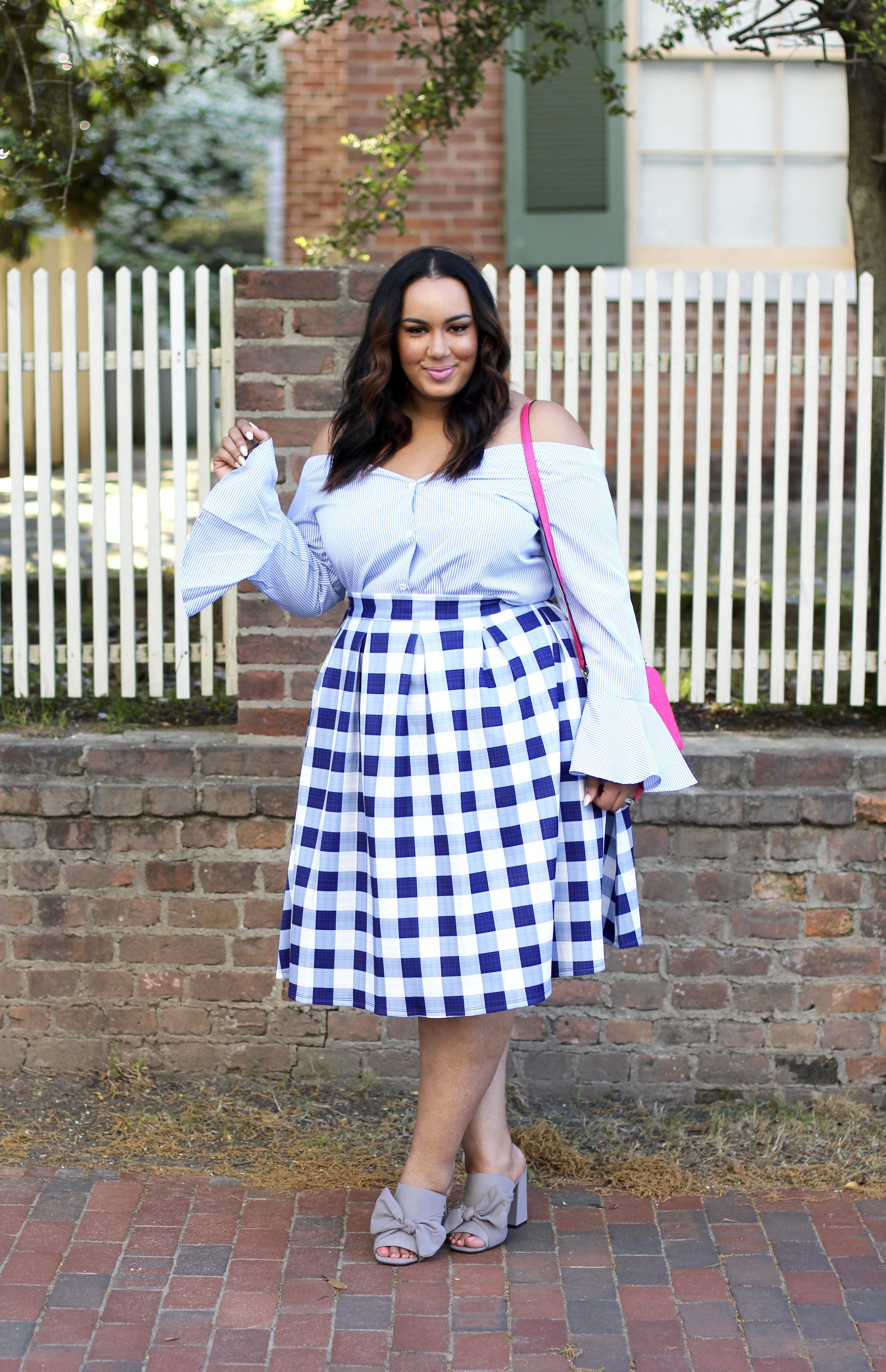 c11fd27e430 Off the Shoulder Shirt   Gingham Skirt