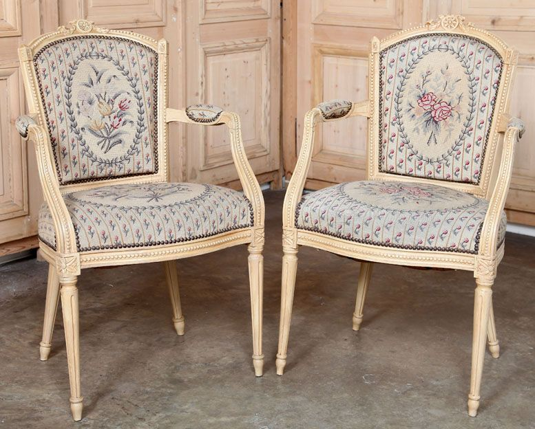 pair antique french louis xvi painted tapestry armchairs antique