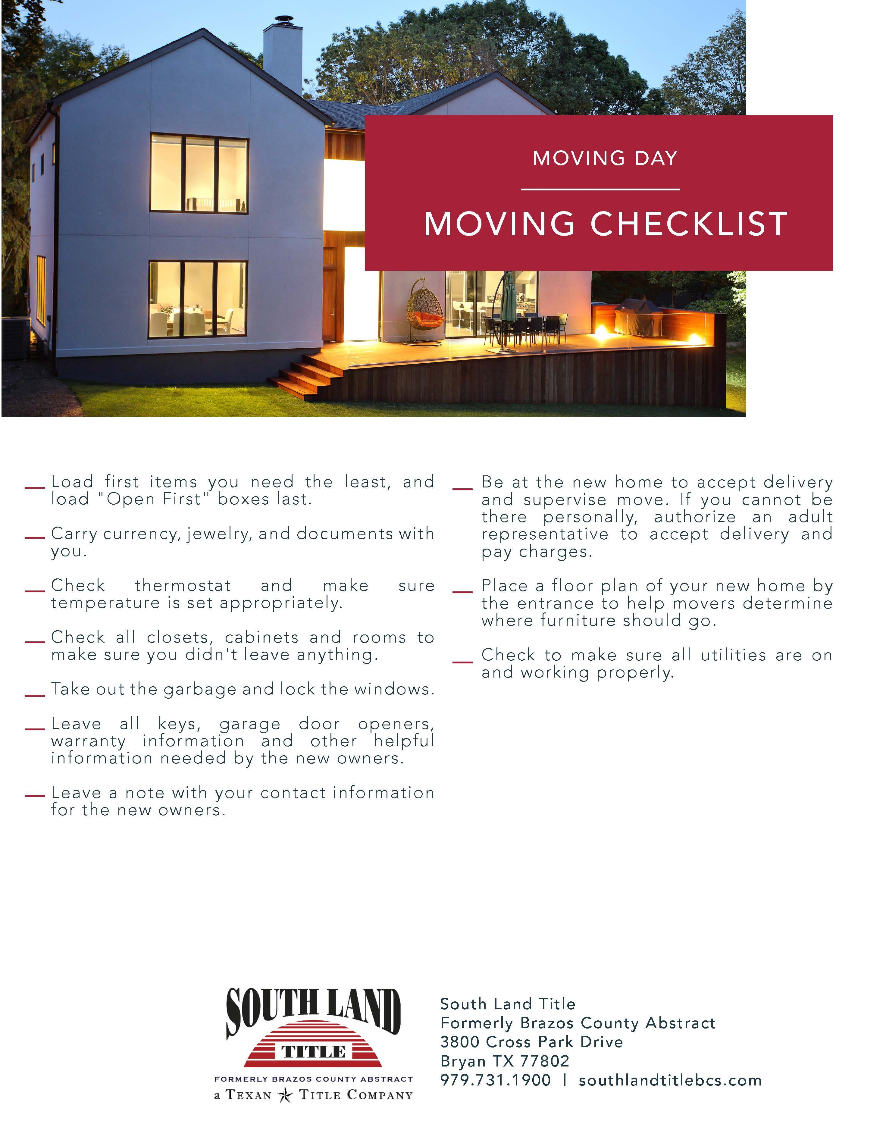 Moving Checklist For More Information Please Visit Our Website