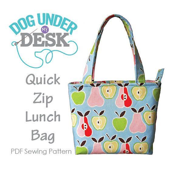 Quick Zip Lunch Bag PDF Sewing Pattern   Patrones de costura ...