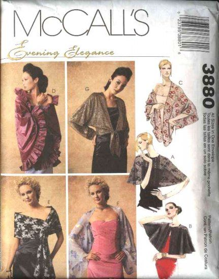 McCall\'s Sewing Pattern 3880 Misses Size 4-22 Formal Evening Wraps ...
