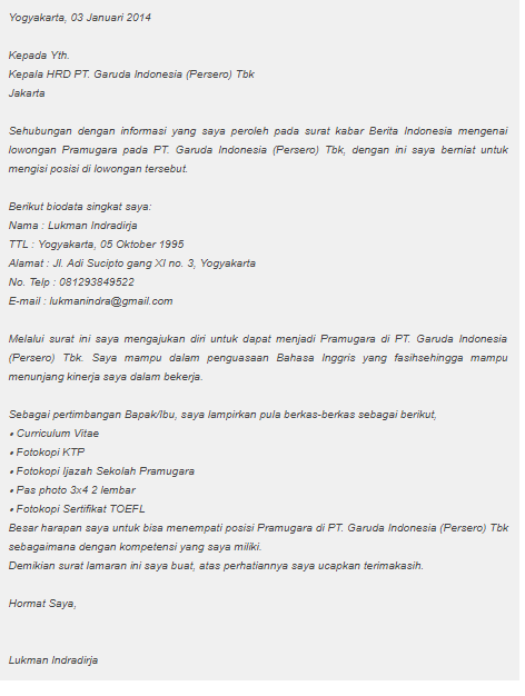 Contoh Surat Lamaran Kerja Di Pt Garuda Indonesia Contoh Surat Lamaran Kerja Di Pt Terbaru Dan Terb Surat Pramugari Bahasa