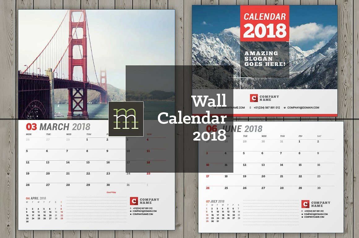wall calendar for 2018 year fully editable layered indesign template bundle stationary. Black Bedroom Furniture Sets. Home Design Ideas
