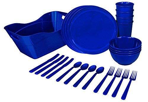 Dormlife Snackware Complete 25 Piece Reusable Plastic Small E Kitchenware Set With Cups Plates