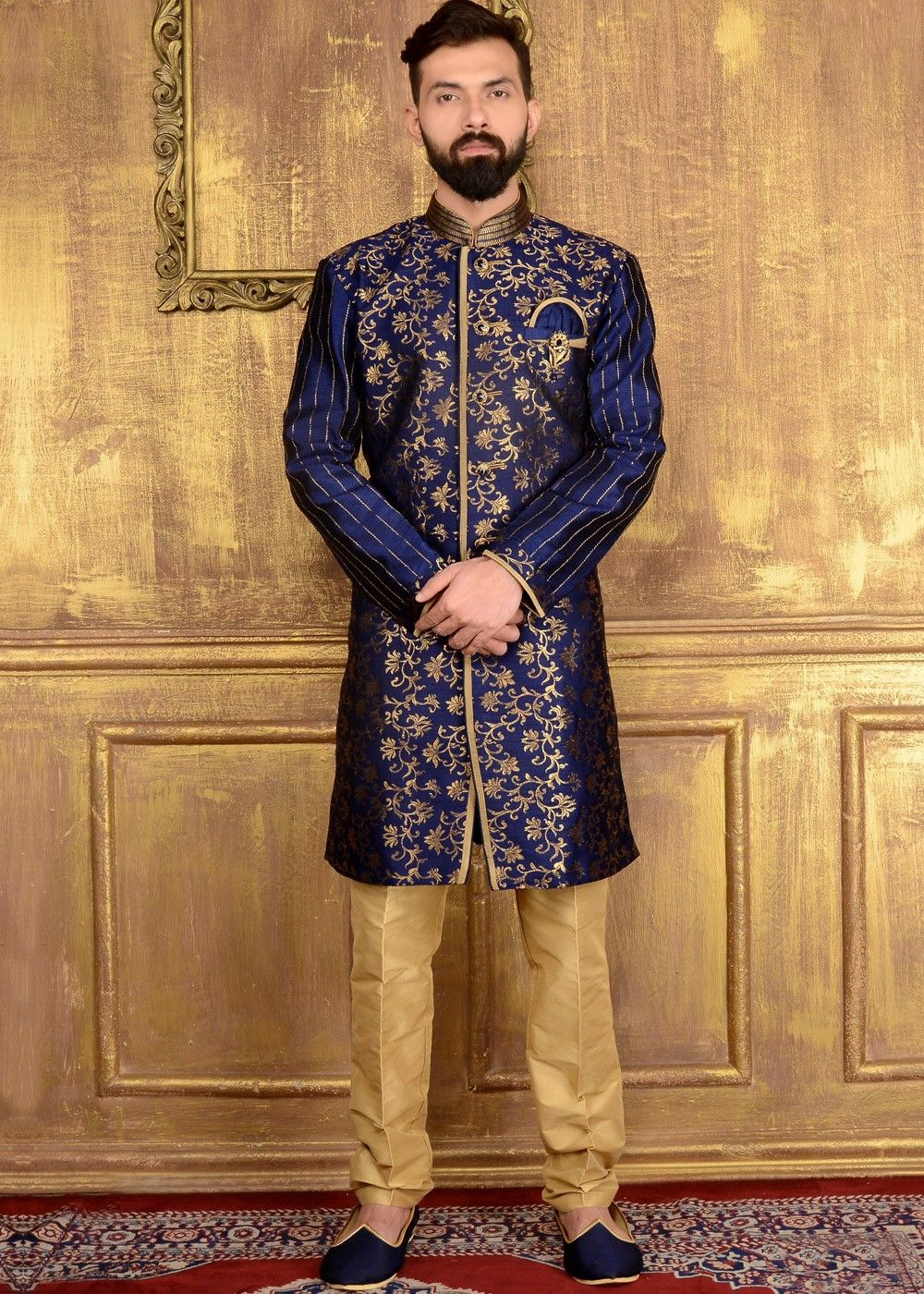 0c7bfeff4132 Readymade  blue  IndoWestern  sherwani in  brocade with all over woven  details and lace work.